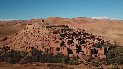 Aerial view on Kasbah Ait Ben Haddou in the Atlas Mountains, Morocco