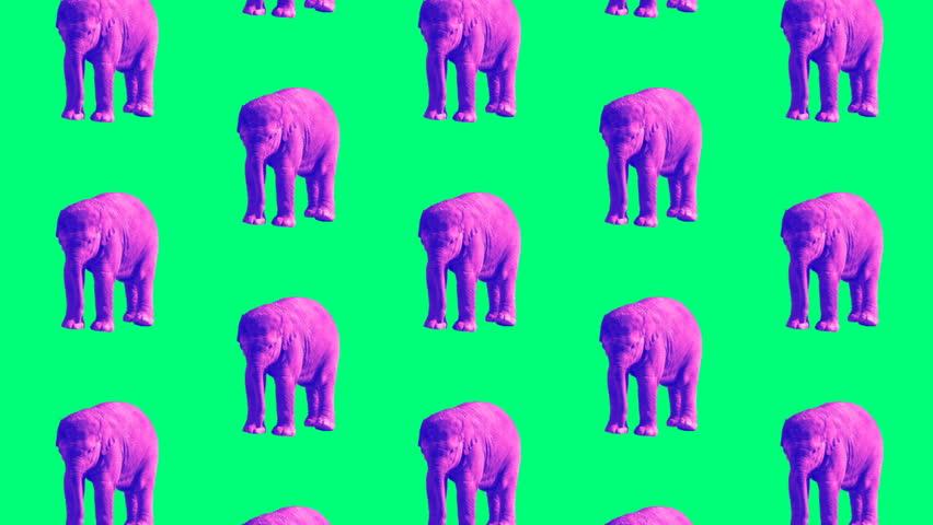 Minimal Motion design art.  Purple Elephant on a green background | Shutterstock HD Video #1009498259