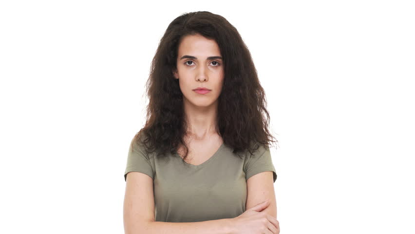 Portrait of caucasian woman 20s rolling her eyes while being fed up or bored with interlocutor, over white background. Concept of emotions | Shutterstock HD Video #1009502189