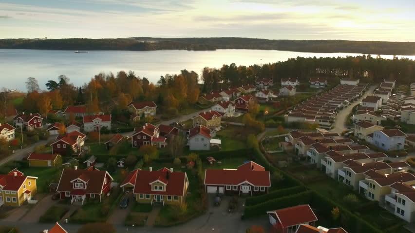 Ariel view of houses in Sweden | Shutterstock HD Video #1009512149