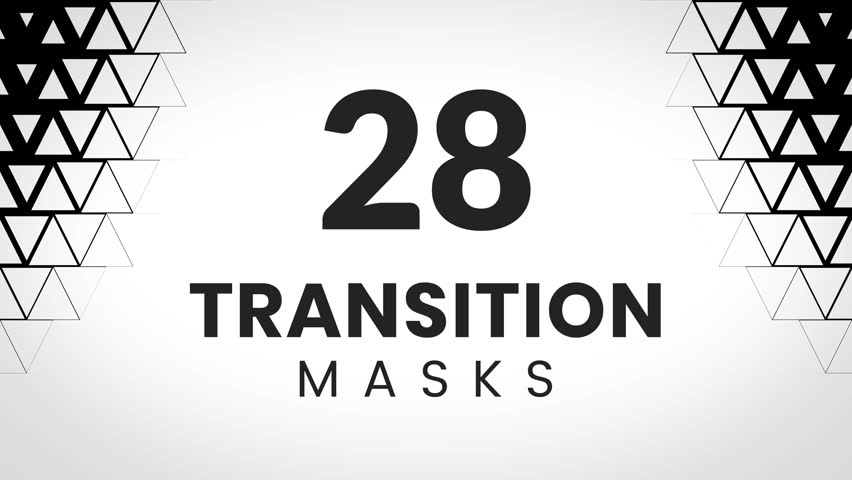 28 transition masks. Triangular geometric texture for trendy business presentation.