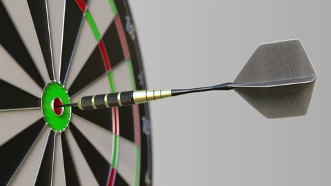 Dart hits bullseye of the target