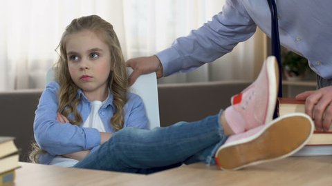 Naughty daughter imitating scolding father, puberty age problem, parent ignore