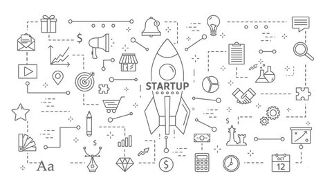 Startup line flat animation. Rocket with icons appearing on white. New business with progress. Motion graphic.