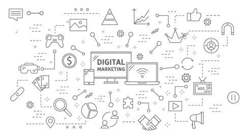 Digital marketing flat animation. Line icons motion graphics.