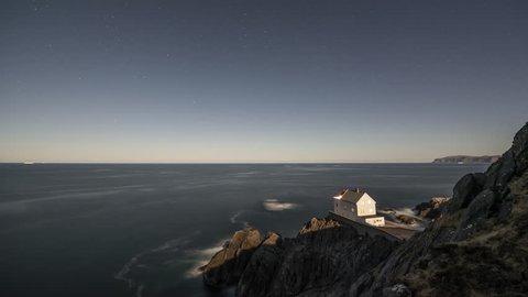 Krakenes Lighthouse in moonlight