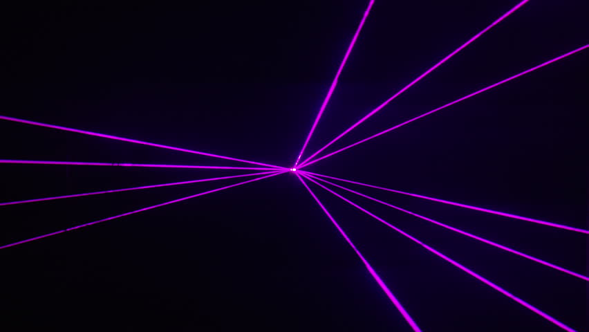 Purple laser beams dance at nightclub/music festival, alpha matte -  Thin purple laser beams shine and make patterns, emerging from a central point to dance around over a black background.