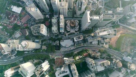 Kuala Lumpur ,December 2017 : 90 Degrees birds eye view of Kuala Lumpur City from above. Traffic at Jalan Ampang X Jalan Tun Razak intersecction from above