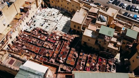 tannery seen from the sky in the city of Fez Morocco