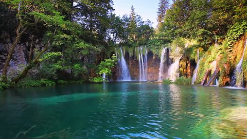 Amazing view on turquoise water. Location famous resort Plitvice Lakes National Park, Croatia, Europe. Scenic footage of popular tourist attraction. Discover the beauty of earth. Full HD 1080p video.