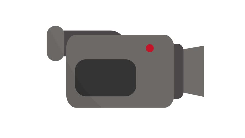 Camcorder video camera Icon symbol motion graphics in and out animation