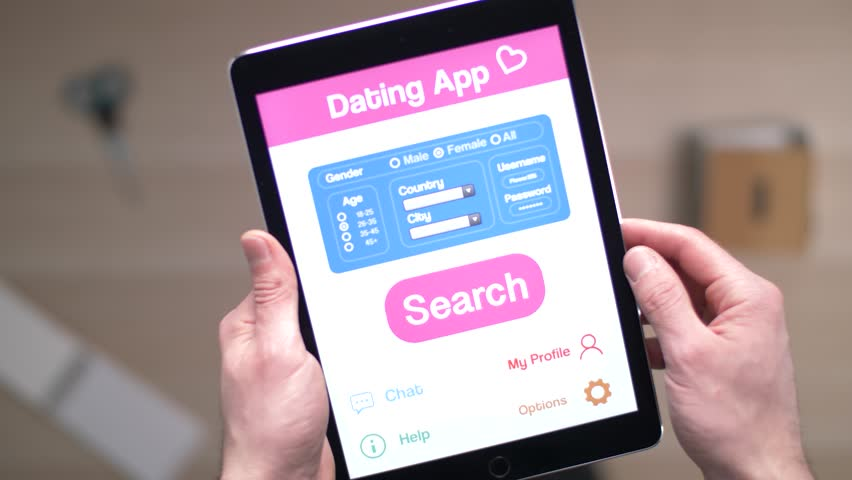 Using a dating app on a tablet to find love.