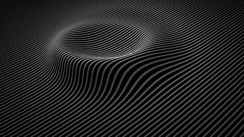 Abstract background with wavy lines. Animation ripples on surface from neon lines. Animation of seamless loop