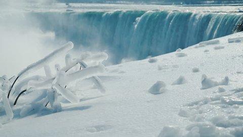 Winter season at Niagara Falls. Traveling in Canada in cold weather