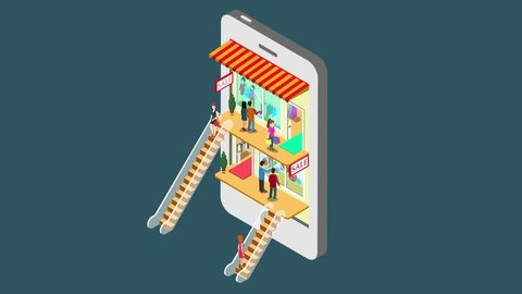 Mobile shopping e-commerce online store reveal animation flat 3d isometric concept. Electronic business, sales, black Friday. People walk on floors in stores boutiques like inside smartphone 4k video.