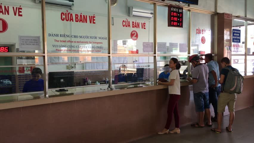 DA NANG, VIETNAM - OCT 2017: People buy tickets at Da Nang Railway Station, one of the main railway stations on the North South Railway (Reunification Express) in Vietnam