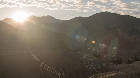 Ladakh India - Himalaya Mountain - Lamayuru Monastery - Sunrise Time Lapse Ultra Wide