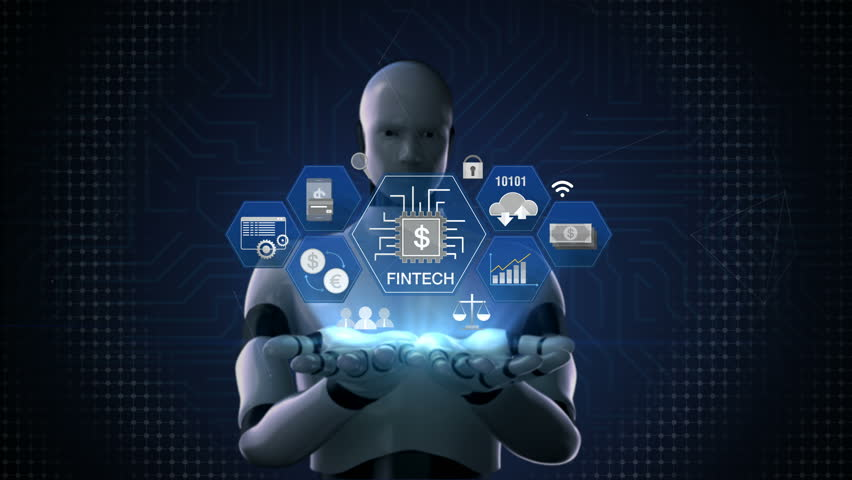 Robot, cyborg opens two palms, Fin-tech icon, Financial technology and various information icon. 4K size movie.1.