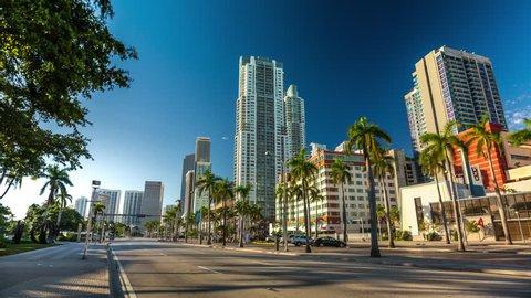 Morning sun Hyperlapse of Biscayne boulvard with traffic jam, Miami. Florida, USA