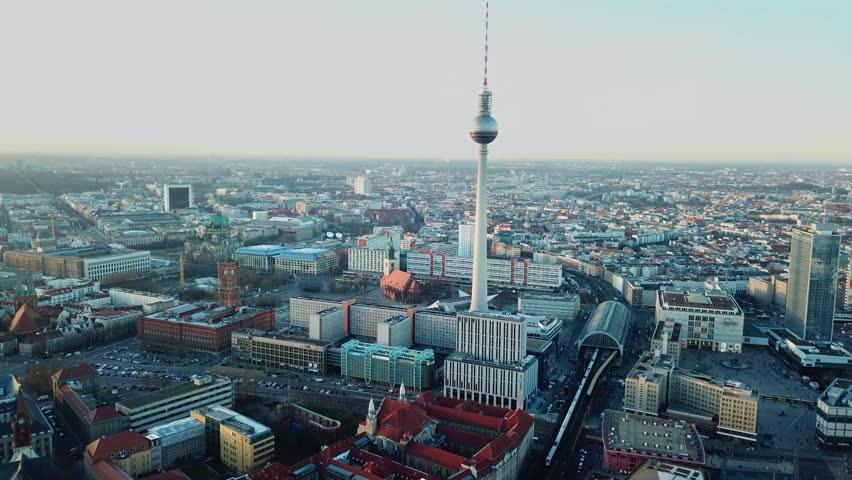 Berlin, Germany. Aerial shot of TV Tower on Alexanderplatz