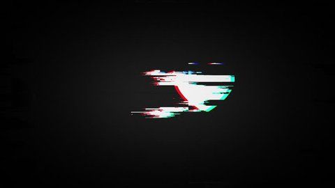 heart on old tv screen, 4K seamless loop glitch animation, valentines day