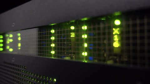 Supercomputer data center matrix. Frame multiframe matrix. Severs computer in a rack at the large data center. Flashing light matrix.