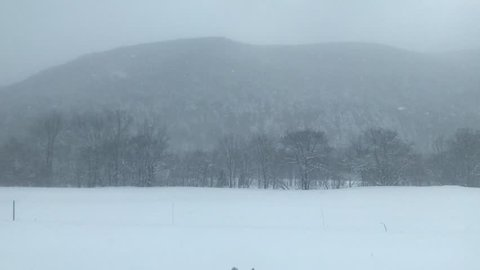 Snow view on Train in Sapporo,  Japan.