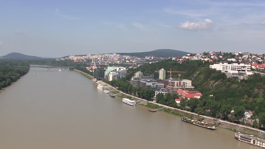b6f9e2dde Panorama of Bratislava in Slovakia. Stock Footage Video (100 ...