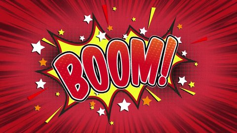 boom Word Retro Cartoon Comic Bubbles Popup Style Expressions Colored Bomb and Smoke Strip Dotted and red Speed Radial line Seamless loop Animation black / green screen 4k doodle background.02