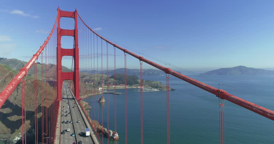 Golden Gate Bridge. Aerial of the Golden Gate Bridge in San Francisco in a misty day. View from top to bottom. Aerial. California. USA. 4k