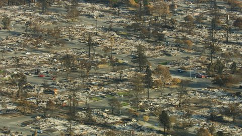 Aerial view of devastation caused by a wildfire rural community township modern homes burned to the ground a devastating natural disaster California USA