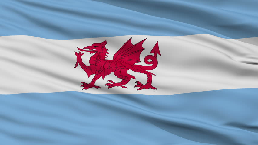 Welsh colony in Patagonia closeup flag, city of Argentina, realistic animation seamless loop - 10 seconds long