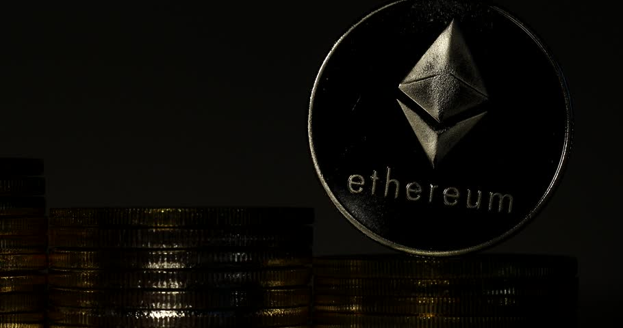 4K Physical metal silver Ethereum currency on white background. New worldwide virtual internet money. Digital Etherum coin cyberspace, cryptocurrency ETH. | Shutterstock HD Video #1009942439