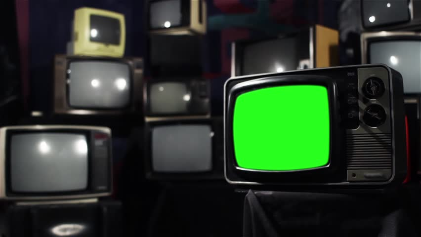 Vintage 80s Tv with Green Screen. Ready to replace green screen with any footage or picture you want. Zoom In Fast. | Shutterstock HD Video #1009948169