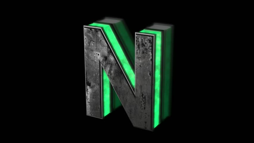 Futuristic letter N - volumetric rusty metal letter with green light outline glowing in the dark 3D animation