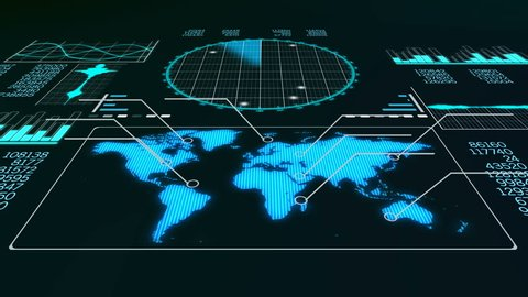 A professional 3d rendering of a radar screen to detect flying airplanes. It displays line bars, world man and circular blue grids with sparkling spots in the black background.