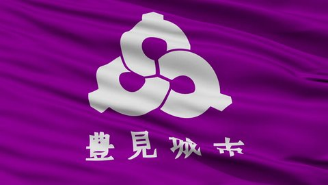 Tomigusuku close up flag, Okinawa prefecture, realistic animation seamless loop - 10 seconds long