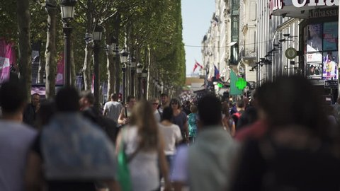 PARIS, FRANCE – SEPTEMBER 2016 : Video shot of people walking in central Paris on a beautiful day