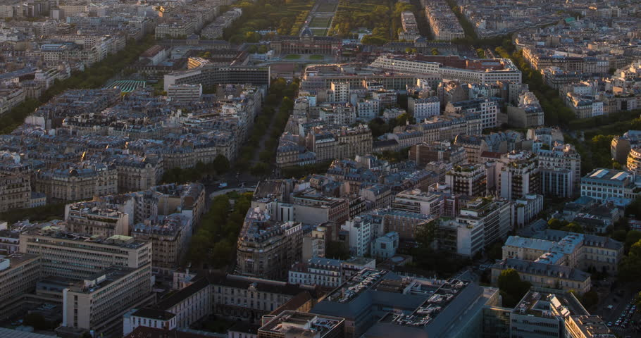 PARIS, FRANCE – SEPTEMBER 2016 : Timelapse over central Paris during a beautiful sunset with Eiffel Tower and skyline in view | Shutterstock HD Video #1009990799
