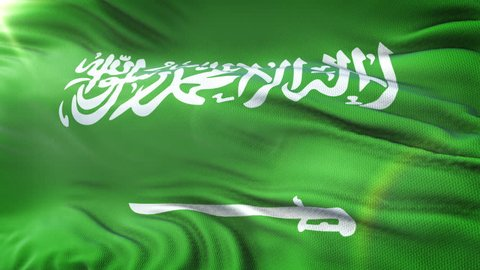 Flag of the Saudi Arabia waving on sun. Seamless loop with highly detailed fabric texture. Loop ready in 4k resolution.