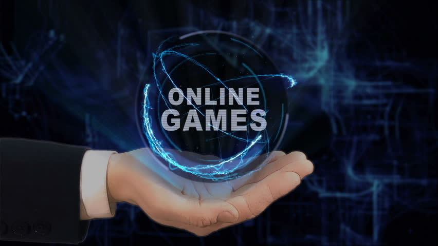 Painted hand shows concept hologram Online Games on his hand. Drawn man in business suit with future technology screen and modern cosmic background | Shutterstock HD Video #1010016209