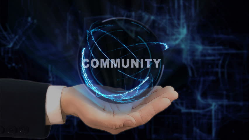 Painted hand shows concept hologram community on his hand. Drawn man in business suit with future technology screen and modern cosmic background | Shutterstock HD Video #1010016299