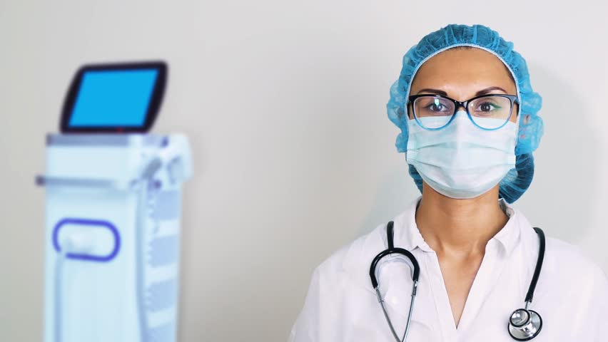 Video Footage Doctor Shutterstock Wearing Mask 1010031509 Stock Futuristic 100 Analyzing Royalty-free