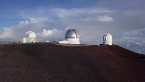 Aerial sunrise general view of Telescopes of Mauna Kea Astronomical Observatory, Hawaii. USA