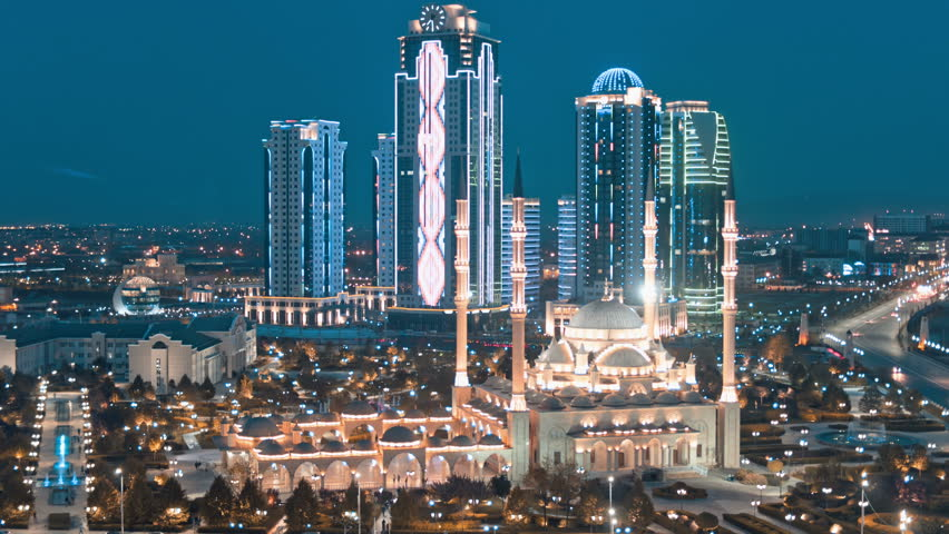 Grozny City, Heart of Chechnya mosque in the evening