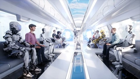 3d people and robots. Futuristic monorail transport. Concept of future. Realistic 4K animation.