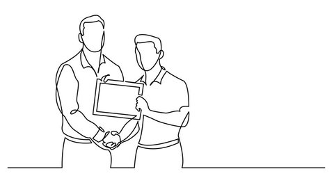 Self drawing animation of continuous line drawing of businessman congratulates another with certificate