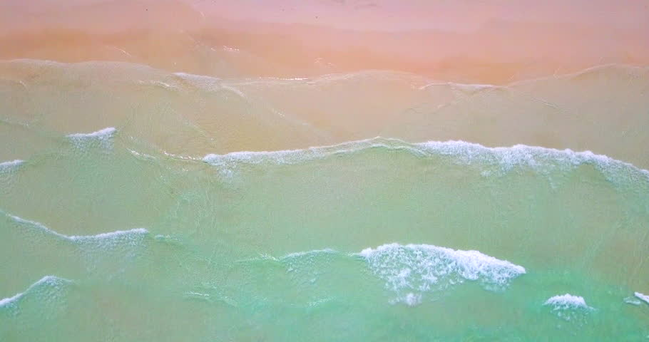 AERIAL 4K: Tropical beach video loop showing seamless never ending footage with aerial bird eye view of green foaming ocean waves crushing against the sandy coast line | Shutterstock HD Video #1010063519