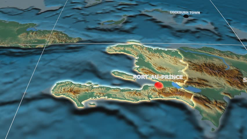 Zoom-in on Haiti extruded on the globe. Capital, administrative borders and graticule. Relief map