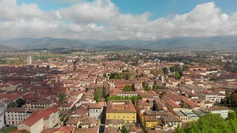Lucca city and walls, aerial view, Tuscany.
